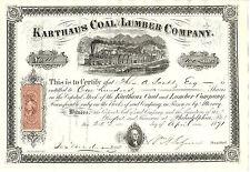 PENNSYLVANIA 1871 Karthaus Coal & Lumber Company  Stock Certificate