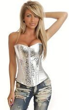 LINGERIE SEXY CORSE BUSTIER TOP GREY SILVER METALLIC PVC SYNTHETIC LEATHER 8288