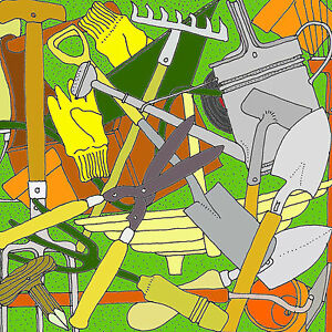 Limited Edition Art Print on Canvas 'GARDEN TOOLS' Artist signed/numbered