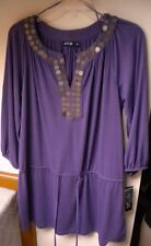 APT.9 Casual L-Tunic 3/4 Sleeve Solid Purple Poly/Spandex Top. Sz M.  Ret. $36