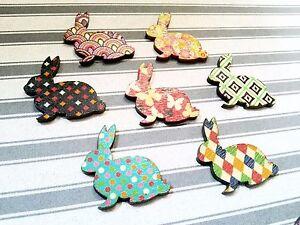 4 Wood Cabochons Flatbacks Bunny Flat Backs Embellishments Assorted Lot
