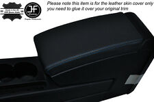 BLUE STITCH ARMREST LID LEATHER SKIN COVER FITS VW PASSAT B7 2011-2014