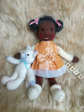 Knitted Waldorf Doll with Kitty Cat Toy - Hand Knitted Soft - New Custom Crafted