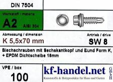 5,5 x 70 mm Bohrschrauben 8mm Kopf Dichtscheibe Ø 16 mm 100 Stück V2A Edelstahl