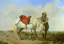 Oil painting eugene verboeckhoven a cavalier watering his mount man white horse