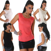 Damen Shirt T-Shirt Top Chiffon Spitze S 32 34 36 Party Club Mode elegant Sommer