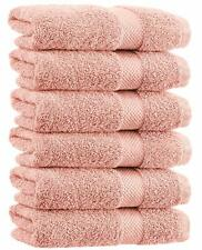 Luxury Hand Towels - Soft Circlet Egyptian Cotton | 16x30 Inch | Set of 6 | Pink