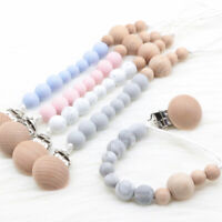 BPA Free Silicone Wood Beads Baby Pacifier Chain Clip Beech Dummy Soother Holder