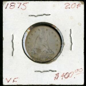 US Coin 1875 Seated Liberty Silver Twenty Cent Piece NO RESERVE!