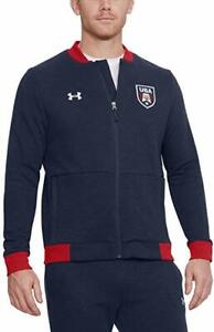 Under Armour Men's Navy USA Graphic Full Zip Fitted Bomber Track Jacket