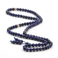 Lapis Lazuli Gemstone Tibet Buddhist 108 Prayer Beads Mala Necklace--6mm