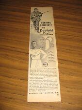 1951 Print Ad Duofold 2 Layer Sports Underwear Hunter & Shotgun Mohawk,NY