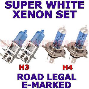 FITS VOLVO V40 1997-ON SET H4 H3 XENON SUPER WHITE LIGHT BULBS