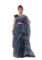 Saree Indian Ethnic Pure Cotton Indigo Blue Sarong Sari Drape Hand Printed Sari