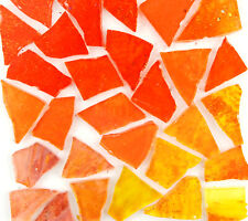 100 Mixed Orange Craft Glass Mosaic Tile pieces by Makena Tile