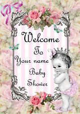 Personalised Baby Shower Welcome Print Party Decoration Mum Girl Babies