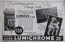 PUBLICITÉ 1935 PELLICULE SUPER LUMICHROME 28° LUMIÈRE F:6,8 - ADVERTISING
