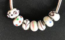 Glasperlen Murano Bead Charm für Pandora oder Trollbeads weiß 7 Stück