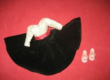 "Vintage 10"" Jill Dress Black Velvet Skirt with Off White Lace Bodice Circa 1958"