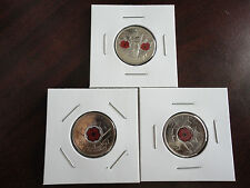 Set of 2004, 2008, 2010 Canadian Remeberance Day Coloured Quarters Poppy 25 Cent
