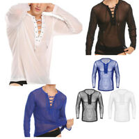 Sexy Mens See Through Mesh Long Sleeve Muscle Tee T-shirt Pullover Blouse Tops