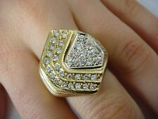 18K YELLOW GOLD 17.2 GRAMS 1.50 CT T.W. GENUINE DIAMONDS HIGH END LARGE RING