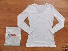 NWT Womens Weatherproof Heather White Long Sleeve Warm Layer Top Crew Shirt XL