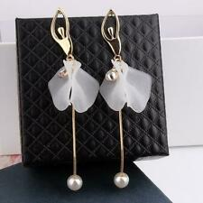 Luxury White Pearl Flower Topaz Dangle Earrings 925 Silver Wedding Jewelry