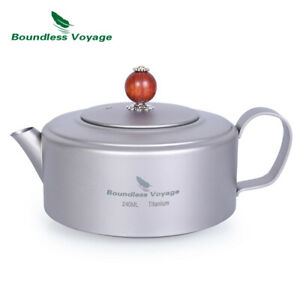 Mini Titanium Teapot Kettle with Filter and Lid Boil Water Coffee Tea Maker