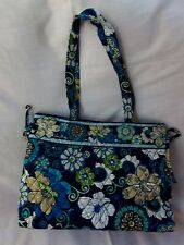 VERA BRADLEY TIE TOTE MOD FLORAL BLUE RETIRED EXCELLENT CONDITION