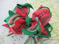 Adorable Red Summer Watermelon Flower Hair Bow Grosgrain Ribbon Handmade New
