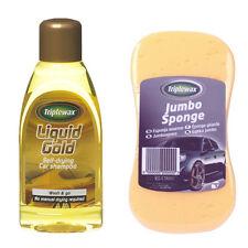 TRIPLEWAX LIQUID GOLD SELF DRYING CAR SHAMPOO WASH & GO 500ml + JUMBO SPONGE