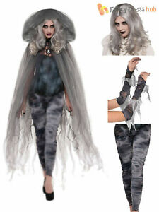 Ladies Zombie Ghost Fancy Dress Adults Halloween Tights Arm Warmers Wig Cape