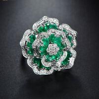 4.73ct Natural Emerald VS/G Diamond Ring Genuine G14K White Gold Christmas Gift