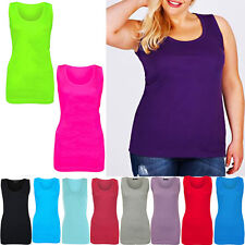 New Ladies Womens Summer Ribbed Vest Tops T-Shirts Cami Stretch Cotton Plus Size