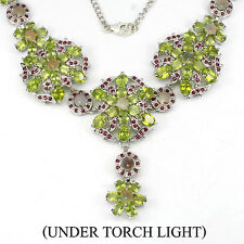 """REAL GEM HOT RAINBOW FIRE OPAL,PERIDOT,RUBY STERLING 925 SILVER NECKLACE 20"""""""