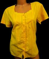 Kim rogers mustard floral embroidered print women's plus size top XL