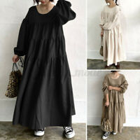 Womens Oversized Tiered Layered Long Sleeve Casual Loose Kaftan Abaya Maxi Dress