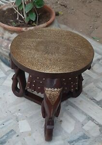 Wooden handmade elephant heads table floral brass fitting decorative round stool