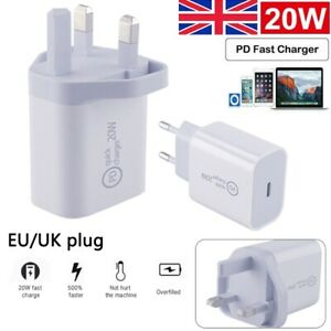 2PCS UK Plug USB-C Type C Fast Wall Charger Adapter PD 20W For iPhone 12 Pro Max
