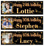 2 personalized birthday Photo banner Gold Stars Adults Party Poster Supply deco