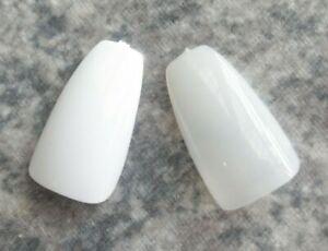 20 100 Full Cover Short COFFIN Pre Shaped Design False Tips Fake Glue On Nails