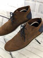 Parc City Boot's Men's Suede Leather Brown Navy Lace Up Boots Sz 10.5 M