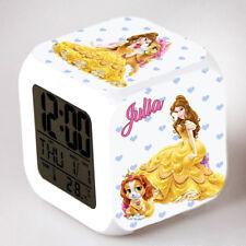 Reveil cube led lumière nuit alarm clock princesse personnalisé prénom réf 21