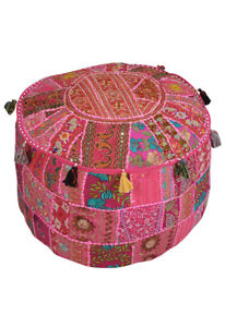 Round Pouf Ottoman Cover Indian Patchwork Floor Cushion Pillow Footstool Cover