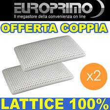 OFFERTA COPPIA  ( 2 ) X CUSCINO GUANCIALE OTTIMO IN LATTICE 100% PER MATERASSO