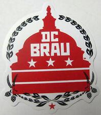 DC BRAU BREWING COMPANY 4in. Beer STICKER w/ Capitol Bldg, Hops WASHINGTON, D.C.