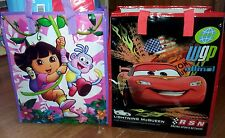 VINYL LIBRARY BAGS LIGHTNING McQUEEN OR DORA  VINYL TOTE BAG FOR KINDER