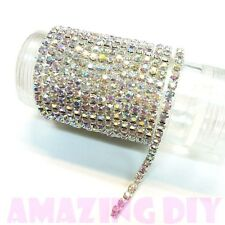 20cm Glass Rhinestone Chain Trimmings Silver Setting foiled ss16 4mm Crystal AB