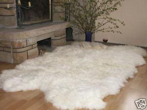 Schaffellteppich, Schaffell Teppich, weiss, Größe ca. 200x120cm / aus 4 Fellen